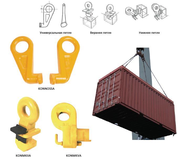 Схема строповки контейнеров морских